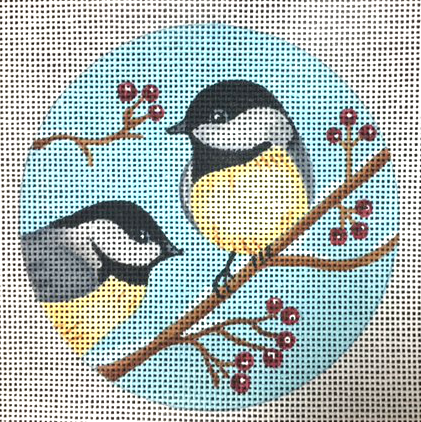 Chickadees Ornament - Canvas Only
