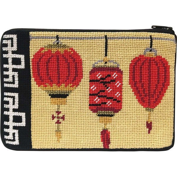Stitch & Zip Needlepoint Cosmetic Purse Lanterns