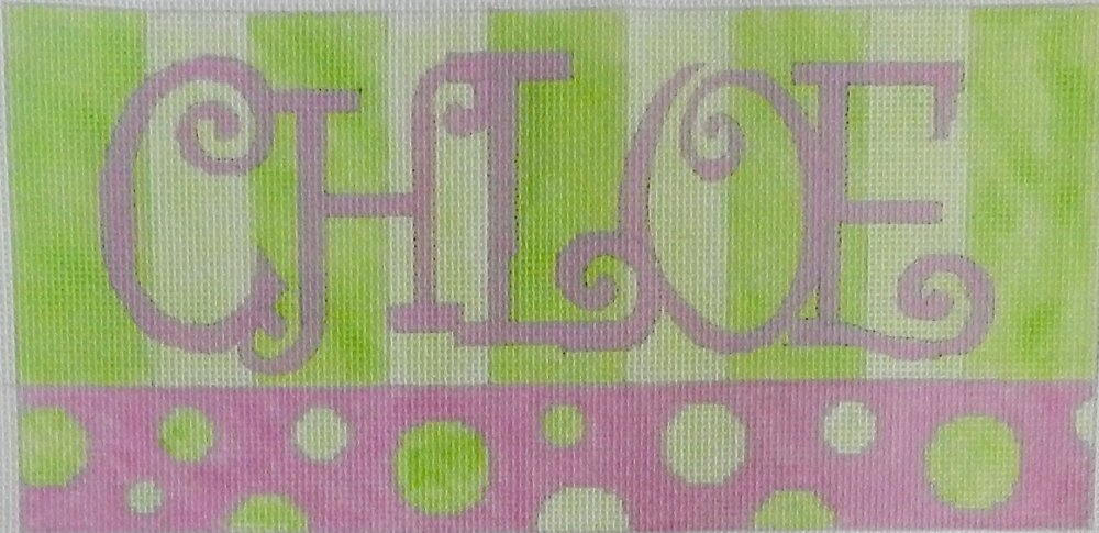 Beth Gantz Needlepoint Custom Names<BR>Green and Pink Spots - Canvas Only 1-5 letters