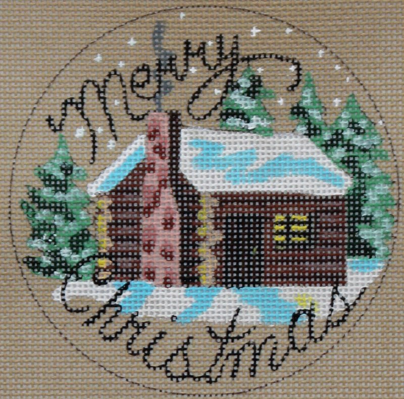 Christmas at the Cabin needlepoint ornament by Danji Designs