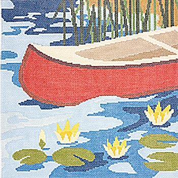 Canoe needlepoint by Cindy Lindgren