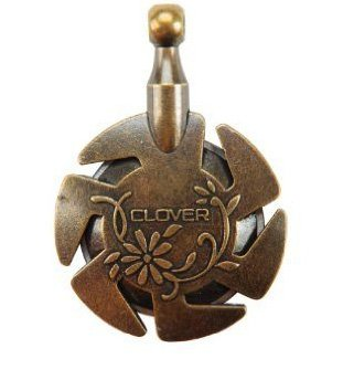 Clover Yarn Cutter Pendant - antique brass