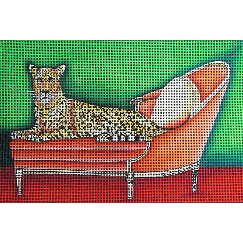 Big Cat on Pink Couch By Catherine Nolin