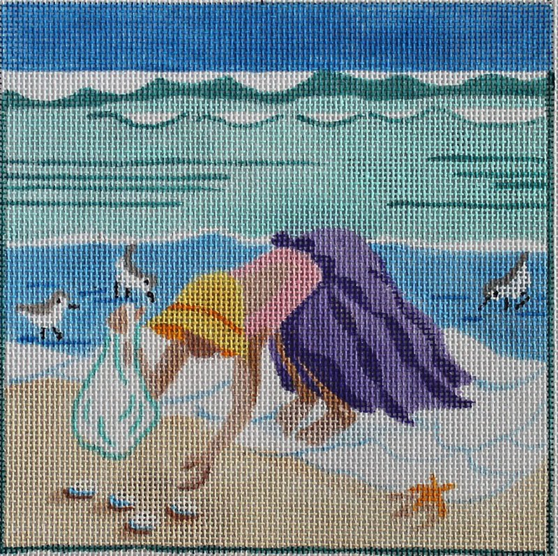 Collecting Shells needlepoint Julie Mar