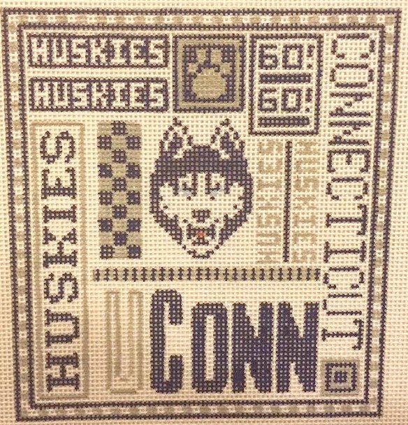 College Needlepoint - Connecticut Huskies - Canvas Only