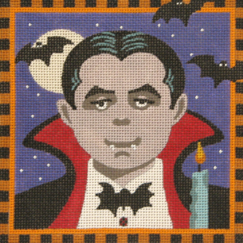 Count Dracula needlepoint canvas by Julie Mar Designs.