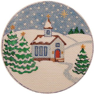 Country Church Christmas Ornament - Canvas Only