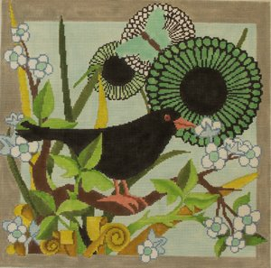 Crow and Flower from the Meredith Collection - Canvas Only
