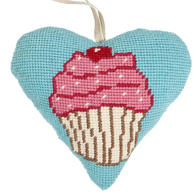 Needlepoint Heart Ornament Kit Cupcake