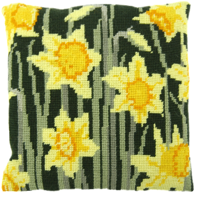Needlepoint Pillow Kit Daffodils