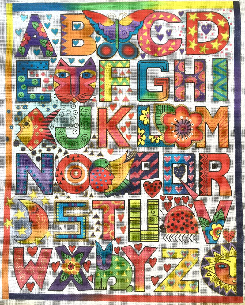 Alphabet Needlepoint By Laurel Burch - Canvas Only