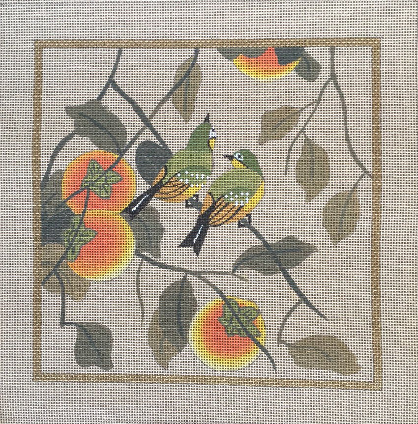Oriental Birds With Peaches - Canvas Only