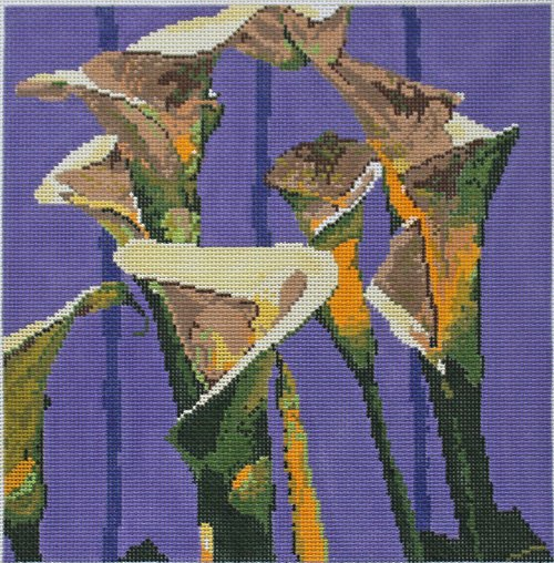 Calla Lillies on purple - Canvas Only