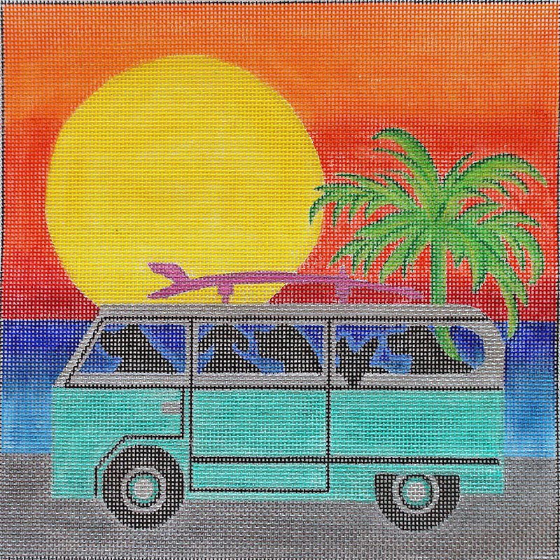 Dog Caravan needlepoint canvas by Julie Mar