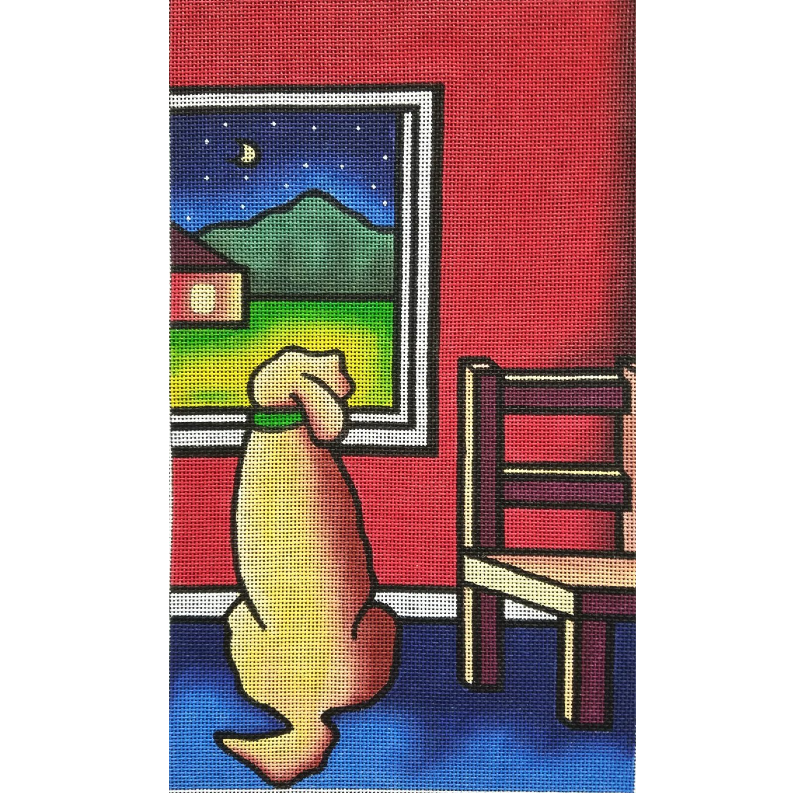 Dog and Window needlepoint