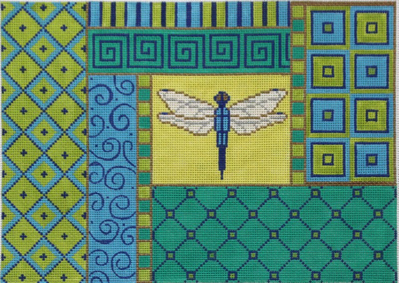 Dragonfly Collage needlepoint design by Amanda Lawford and Valerie Needlepoint Gallery