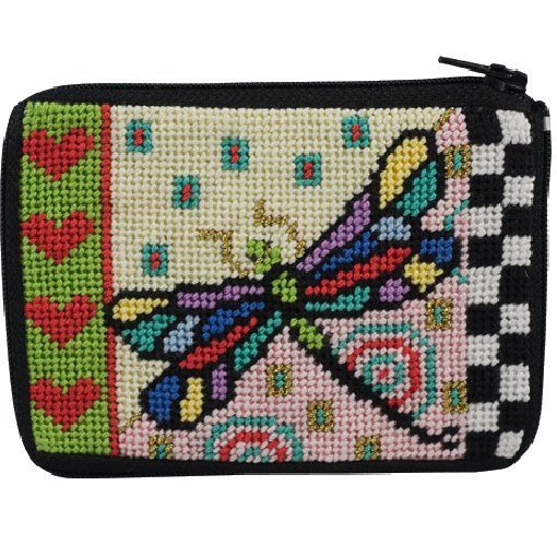 dragonfly needlepoint stitch and zip coin purse