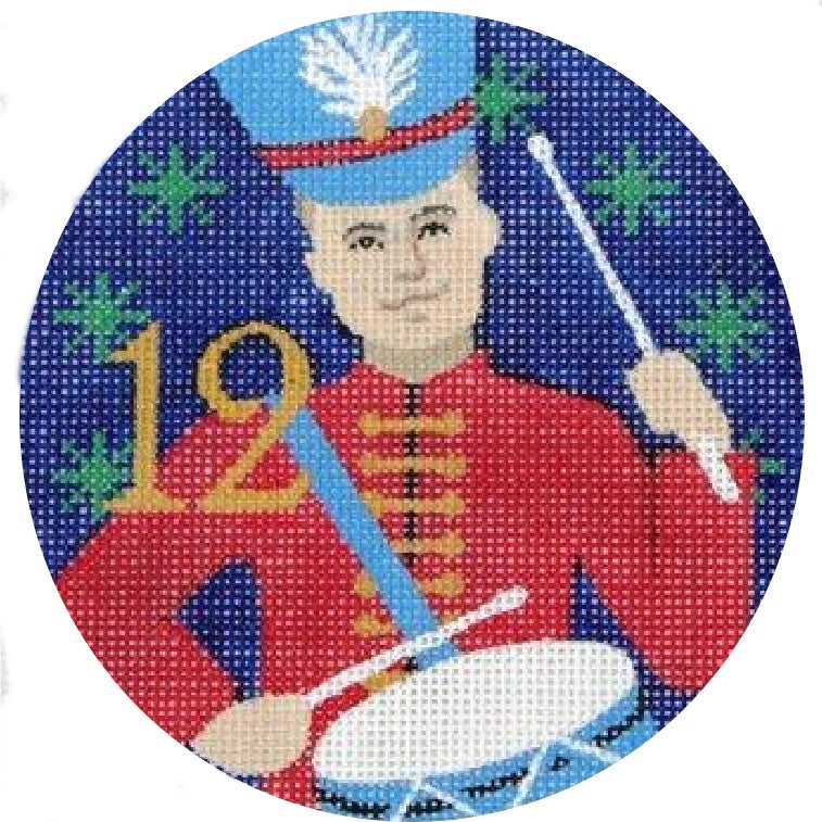 12 Drummers Drumming Needlepoint Ornament by Julie Mar