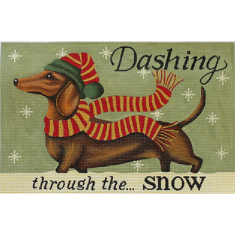 Dachshund In The Snow Needlepoint