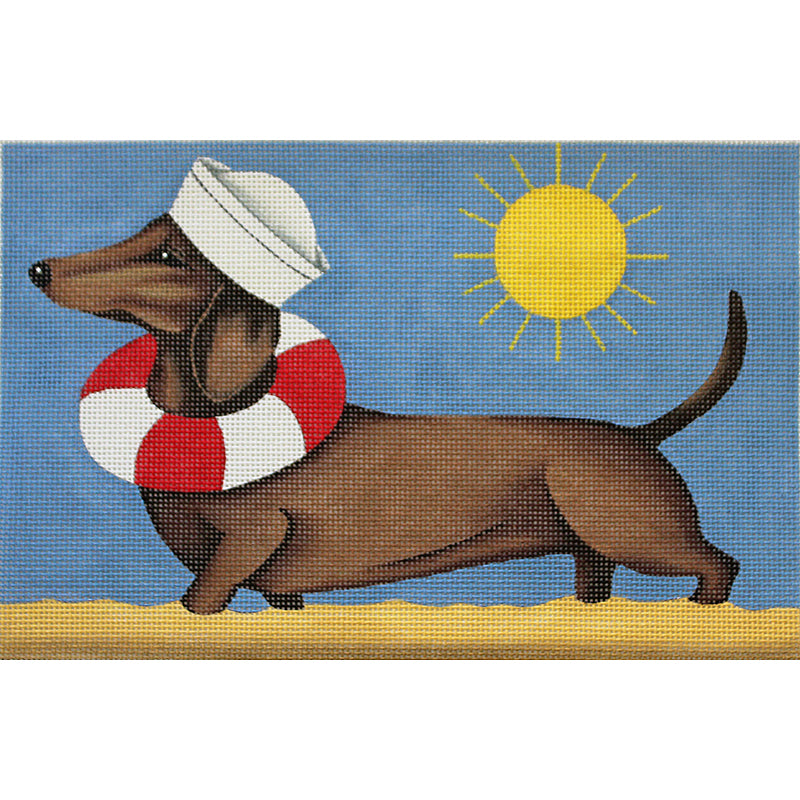 Dachshund Summertime Needlepoint