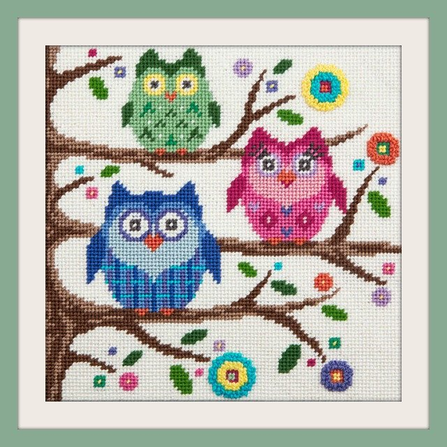 Easy Needlepoint Kit<BR>Owls