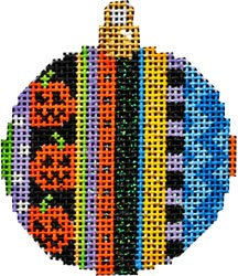 Jack-o-lantern striped mini ball Halloween Needlepoint  - Canvas Only