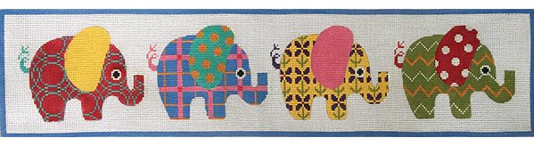 Patterned Elephants Needlepoint  - Canvas Only