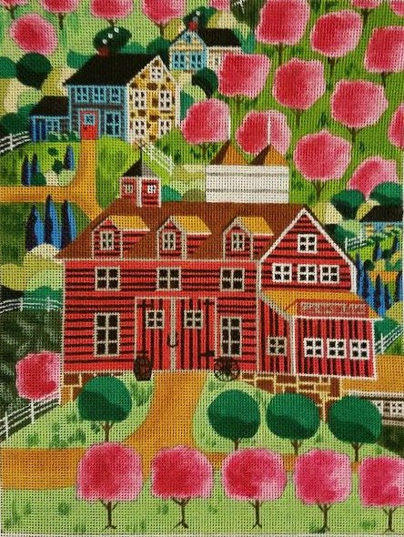 Ewe and I Needlepoint Cherry Bloom Hills  - Canvas only