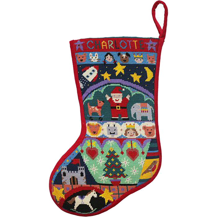 Fairytale needlepoint Christmas stocking kit by Jolly Red