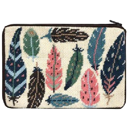 feathers needlepoint purse kit by stitch and zip