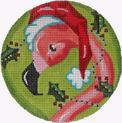 Flamingo in Santa Hat Christmas ornament - Canvas Only