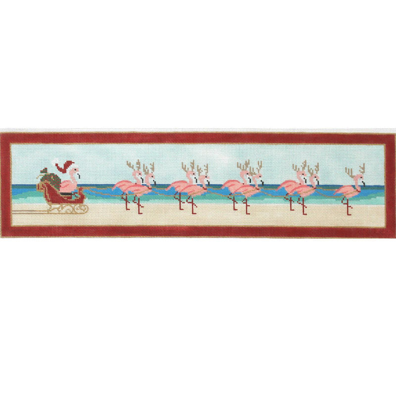 Flamingos Sleigh needlepoint by Purple Palm PP4404