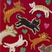 Flying Felines Needlepoint Kit