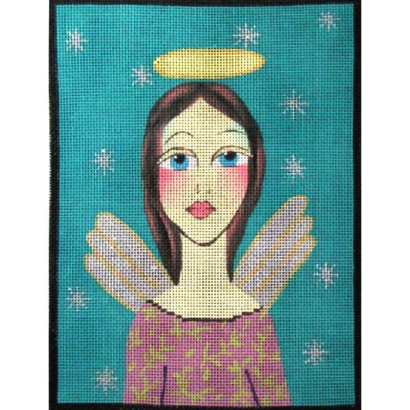A folk art needlepoint angel in a window.