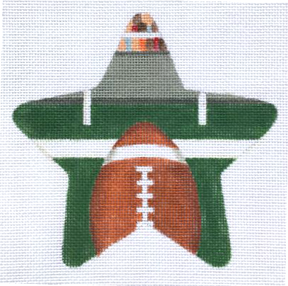 Football Needlepoint Star Ornament - Canvas Only