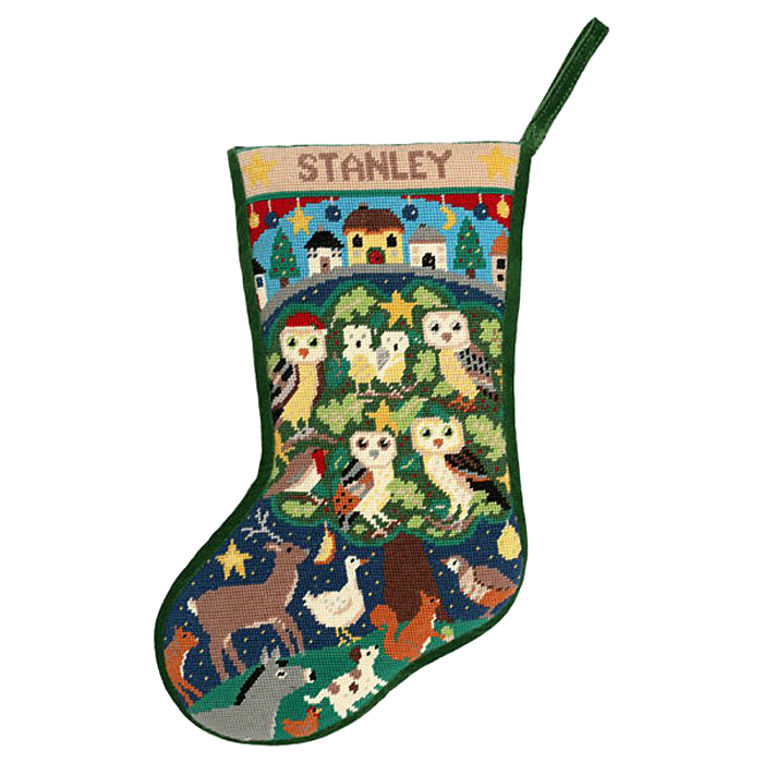 Forest Friends Christmas Stocking Needlepoint Kit by Jolly Red