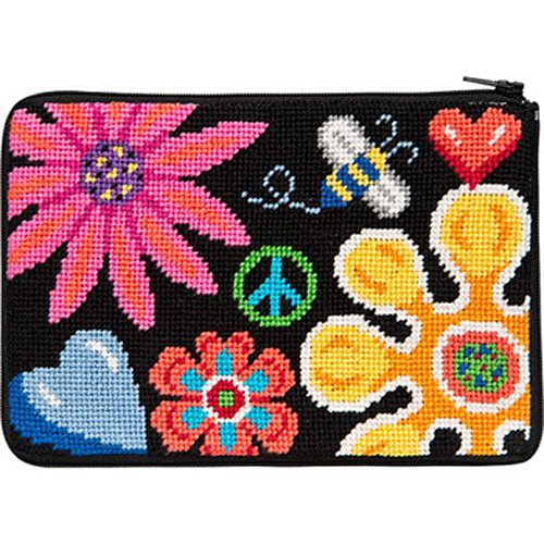 Stitch & Zip Needlepoint Cosmetic Purse Fun Floral