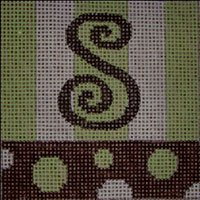 Beth Gantz Needlepoint Bubbles Alphabet in lime and black - Canvas Only