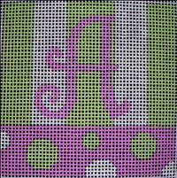 Beth Gantz Needlepoint Bubbles Alphabet in Pink & Lime  - Canvas Only