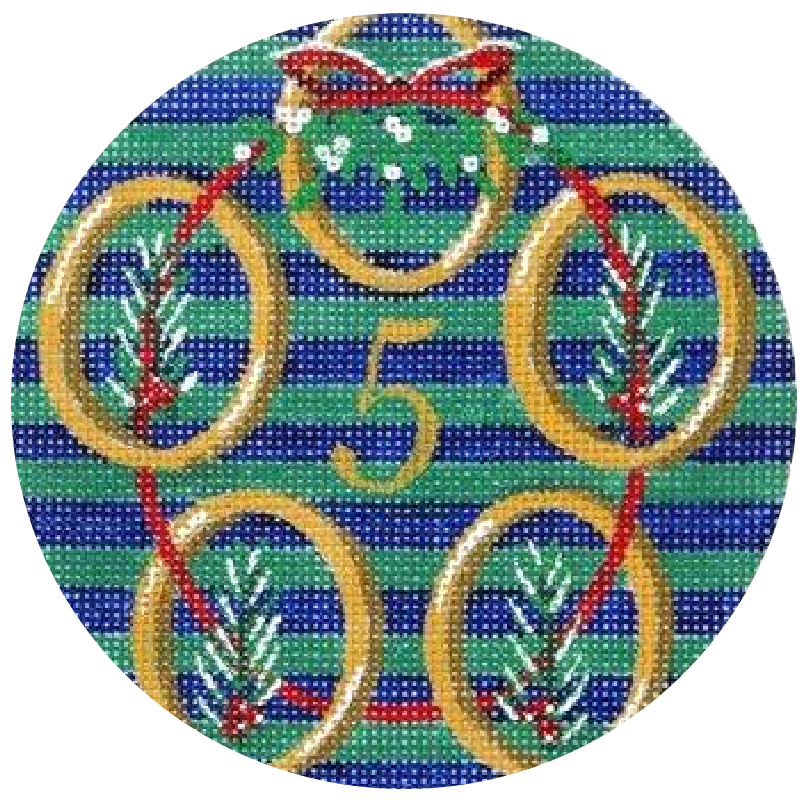 5 Golden Rings Needlepoint Ornament by Julie Mar