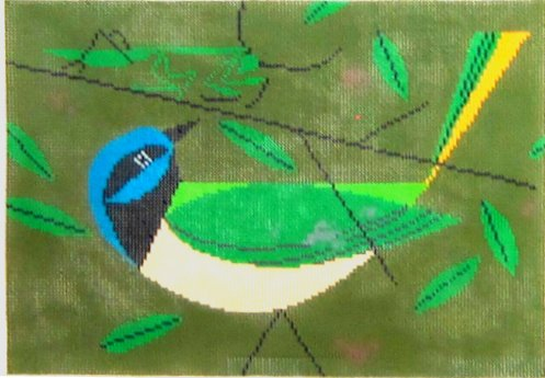 Charley Harper Needlepoint Green Jay - Canvas Only