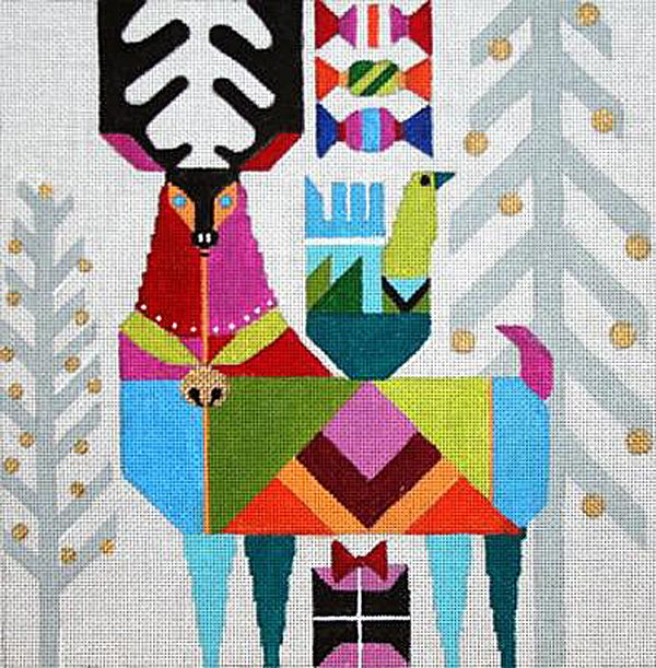 Abstract Reindeer needlepoint by Melissa Prince