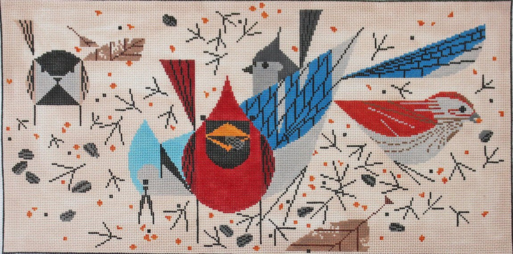 Charley Harper Needlepoint -Bird Feeders - Canvas Only