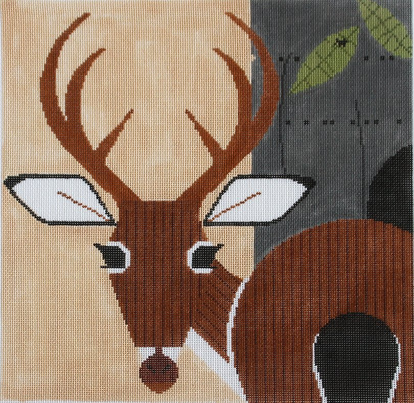 Charley Harper Needlepoint Key Deer - Canvas Only
