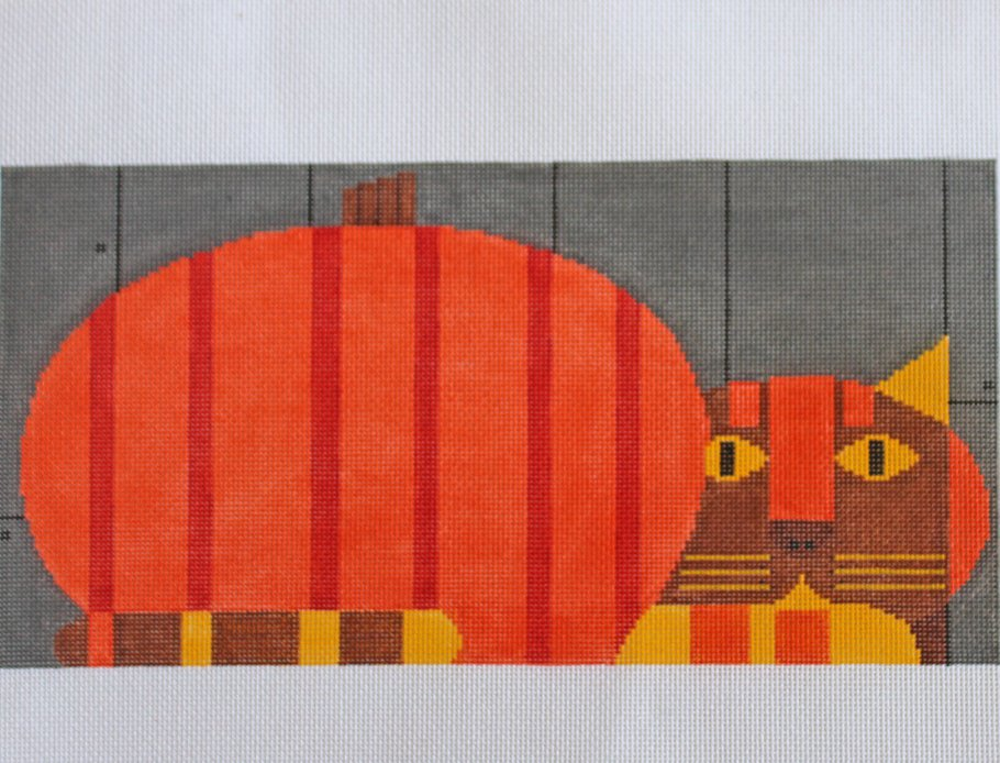 Charlie Harper Needlepoint Pumpkin cat - Canvas Only