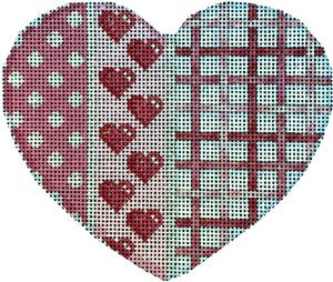 Heart Ornament - Dots & Woven - Canvas Only