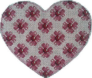 Heart Ornament - Floral repeat - Canvas Only