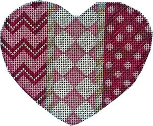 Heart Ornament -Chevron/Harlequin - Canvas Only