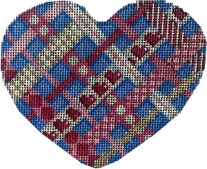 Heart Ornament -Woven Ribbons - Canvas Only