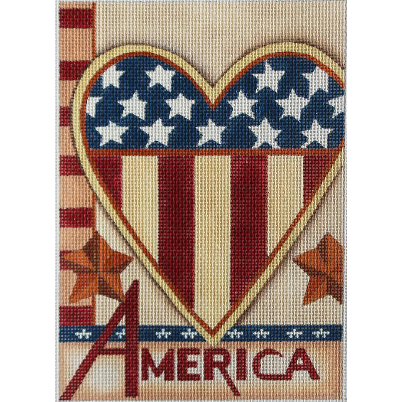 Heart of America needlepoint canvas